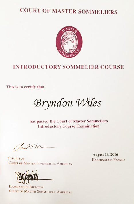 Bryndon Wiles Sommelier Certification